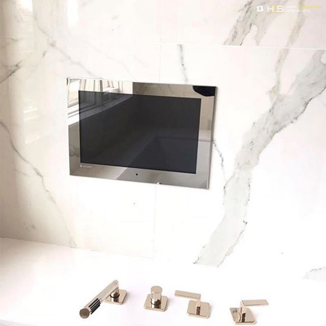 Bathroom, Kitchen, or Spa—Séura Indoor Waterproof TVs are designed to perform wherever you want them. Thank you to @hisnyc1 for posting this beautiful installation. #seura #waterprooftv #interiordesign #repost