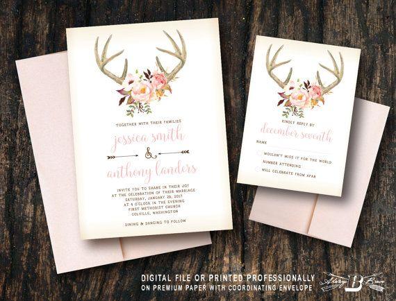 Deer Wedding Invitation SET  Boho Wedding by AlwaysBBrave on Etsy