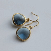 Earrings. Simple and classic, blue and gold.