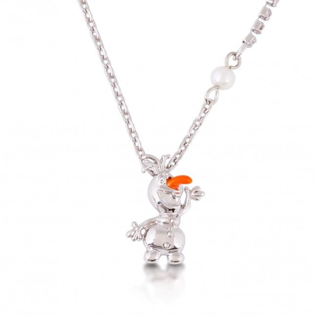 Disney Couture Frozen White Gold Plated Olaf Snowman Figure Necklace