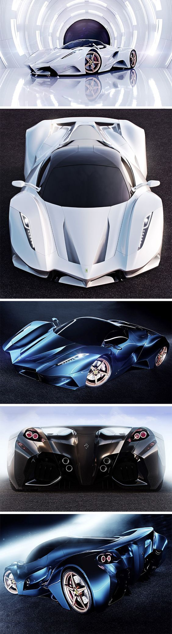 The only thing Ferrari about this concept car is the logo on the front and back! Designer Ivan Venkov decided to reimagine Ferrari as a completely new company, fully putting Ferrari's and Pininfarina's 60 year design language aside to develop something more aggressive and edgy.