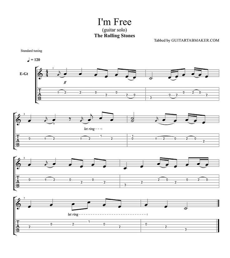 The Rolling Stones - I'm Free guitar solo tab - pdf - guitar sheet music - guitar pro tab