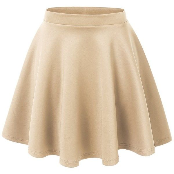 LE3NO Womens Basic Versatile Stretchy Flared Skater Skirt (€6,33) ❤ liked on Polyvore featuring skirts, stretchy skirt, beige skirt, flared skirt, skater skirts and flared hem skirt