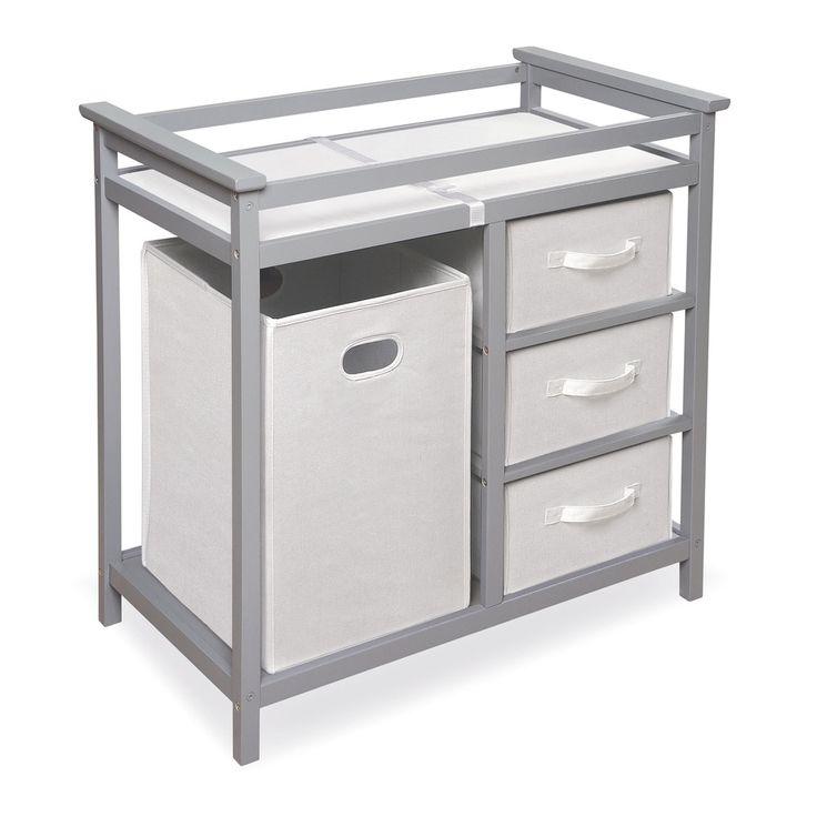 Badger Basket Modern Grey Changing Table with Baskets and Hamper