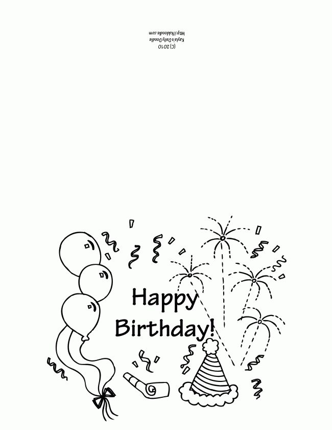Printable birthday card coloring page Birthday card