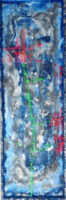 Omaggio Floreale - 30x90 - Pittura su due livelli acrilico su Tela ed Acrilico su Filo di Nylon