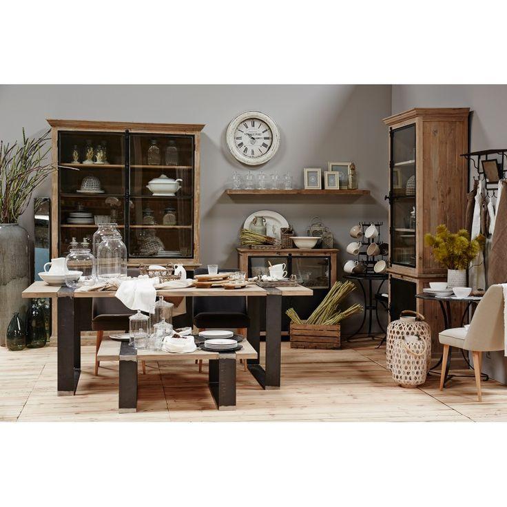 superbe buffet double avec vitrine de chez cote table en pin coloris noir fer collection. Black Bedroom Furniture Sets. Home Design Ideas