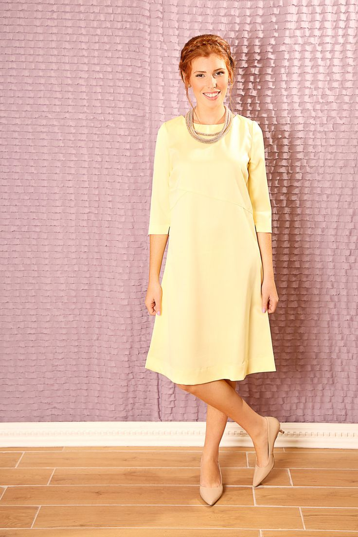 Yellow bridesmaid dress,Formal dress,Graduation dress,Fall midi dress,50s midi dress,Midi evening dress,Loose fit dress,Yellow loose dress by TAMARLANDAU on Etsy