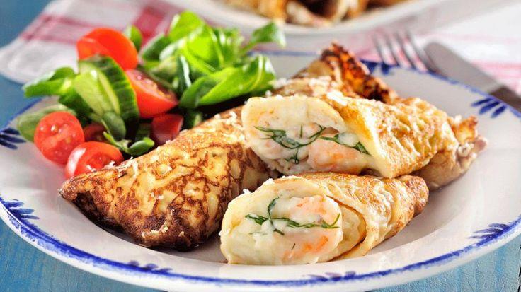 FYLTE PANNEKAKER: Med reker, dill og ost blir dette en fullverdig middag.