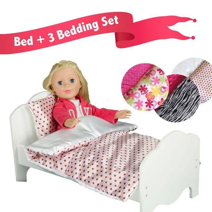 "Olivia's Little World - Little Princess 18"" Doll Single Bed & 3 Bedding Set - Polka Dots / Zebra Prints / Summer Flowers"