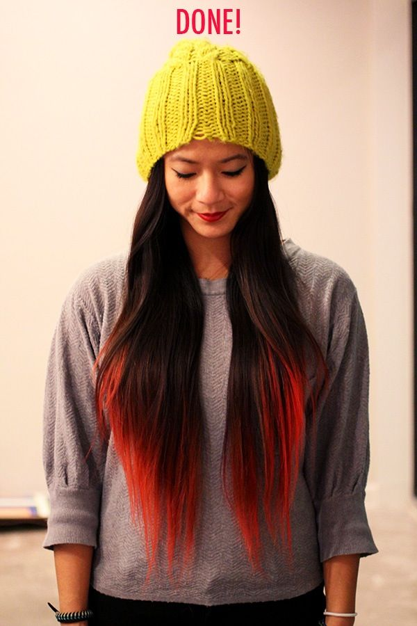 dip dye hair blonde and red - photo #27