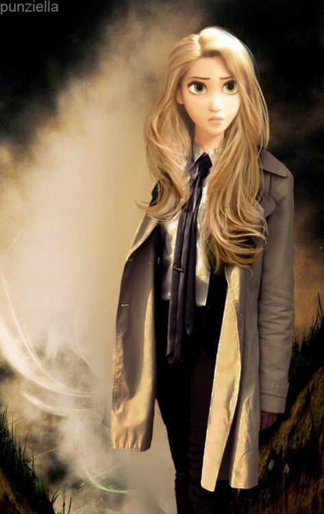 Modern Rapunzel, somewhat resembling Castiel from Supernatural.