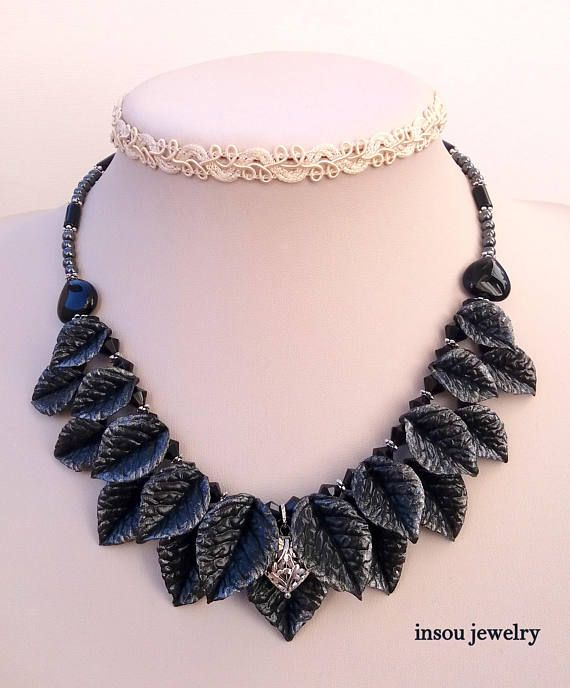 Black Silver Leaves Leaf Necklace Night Jewelry Statement