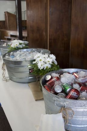 Drink station. graduation party. burlap. butcher paper. daisies. rustic.