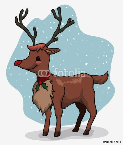 Cute Santa's Deer Outside, Vector Illustration