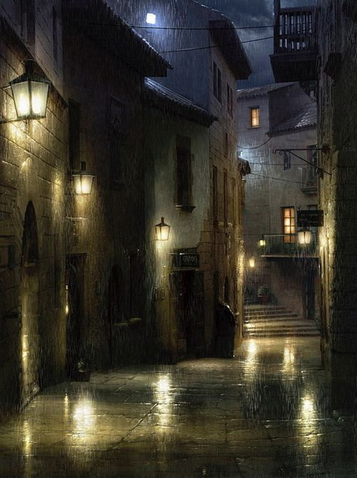 Rainy evening on a quiet, cozy homes. Just picture sitting by a window watching the droplets fall in the glow of the gaslight lanterns.  Music for the soul.