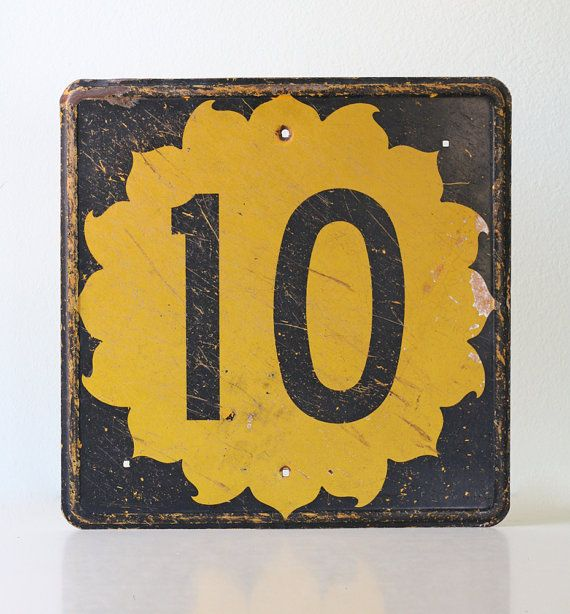 Vintage 10 Sign  Black and Yellow Sunshine Highway by bellalulu, $160.00