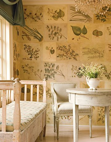 Botanical decoupageAntiques Furniture, Botanical Prints, Wall Treatments, Room Service, Book Pages, White Bedrooms, Entrance Hall, Swedish Style, Swedish Decor