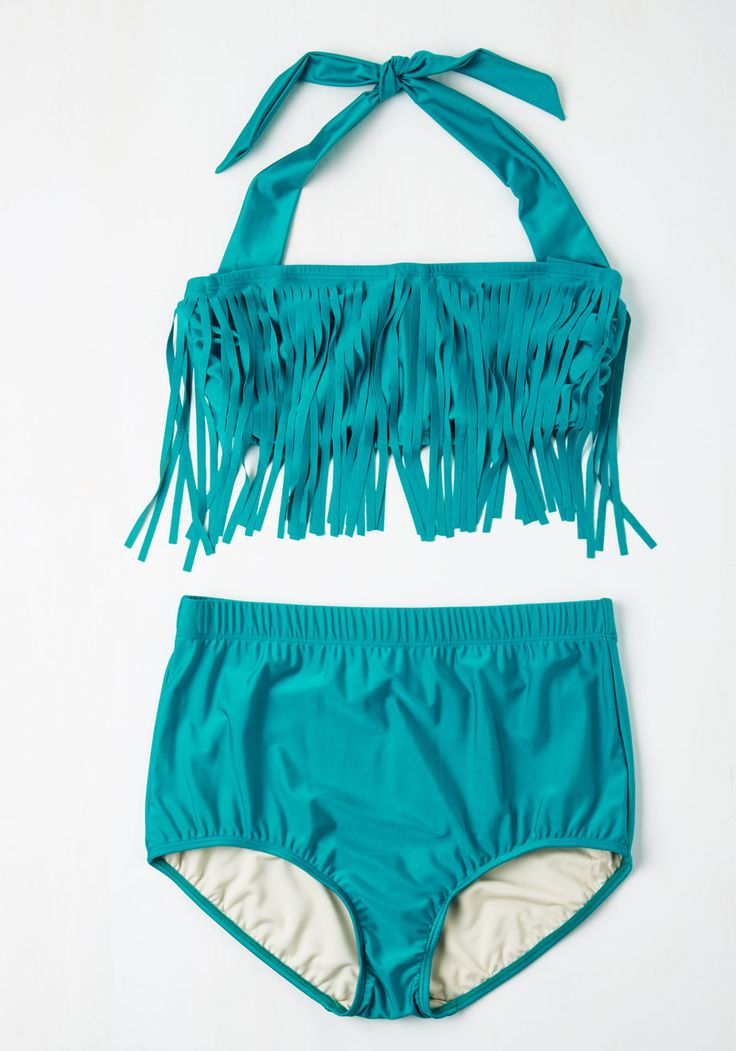Seaside Serenity Fringed Swimsuit Top in Lagoon - Plus Size