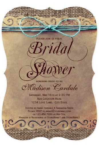 Rustic Country Vintage Bridal Shower Invitations with a printed teal turquoise twine bow design and printed burlap design in the background.  Two Sided.  Discount Sale Prices based on the number of invites you order.  Perfect for a rustic or country themed bridal shower.  See more designs at http://www.rusticcountryweddinginvitations.com/bridal-shower-invitations.html #bridalshower #wedding #bridal
