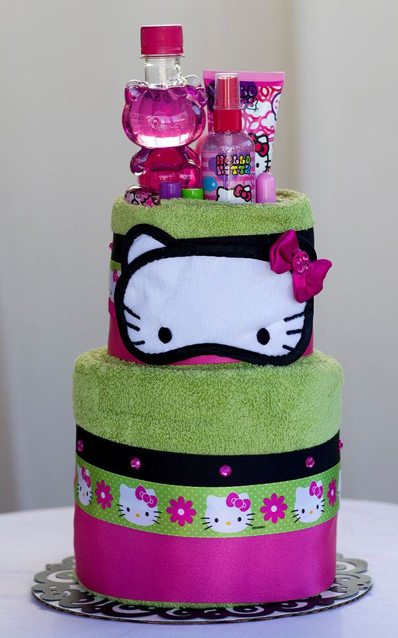 """The """"Hello Kitty"""" Towel Cake. Birthday or Special Event Gifts for Girls. on Etsy, $75.00"""