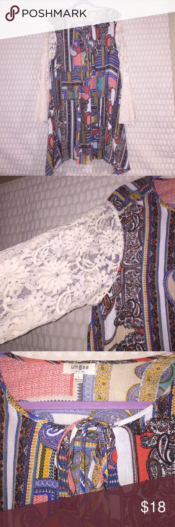 Long sleeve paisley print dress darling floral/paisley print long sleeve dress with crochet sleeve. Worn 1 time. Umgee Dresses Long Sleeve