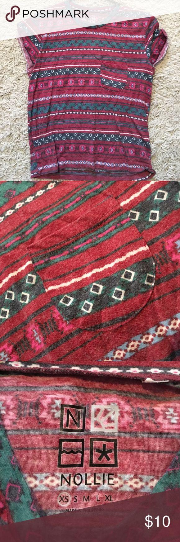 Tribal print crop top Xs crop top tribal print with little front pocket Nollie Tops Crop Tops