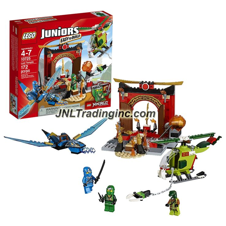 Lego Year 2016 Juniors Ninjago Series Set #10725 - LOST TEMPLE with Blue Dragon, Helicopter Plus Lloyd, Jay & Snake Villain Minifigures (Pieces: 172)