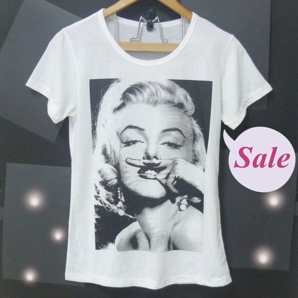 Image of The Marilyn Monroe tshirt mustache shirt women tops loose fitting shirts white S M L XL