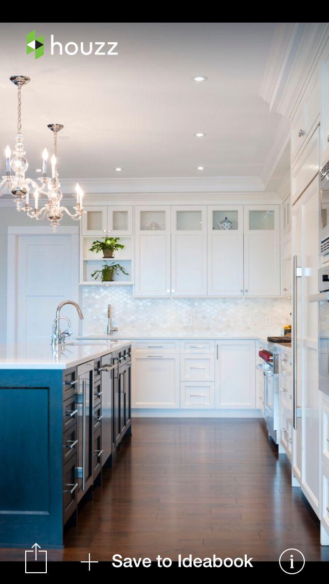 mother of pearl backsplash moroccan shaped tile pop of color on island against white cabinets, lighting