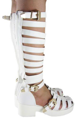 NEW IN :: Love White Gladiator Knee High Shoe Boots