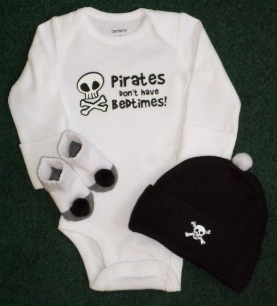 Newborn Halloween Baby Boy Gift  Pirates Don't by SugarBearHair