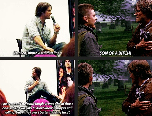 """""""Jensen improvised that line"""" - Made me laugh all the harder when Jared started cracking up for real!"""