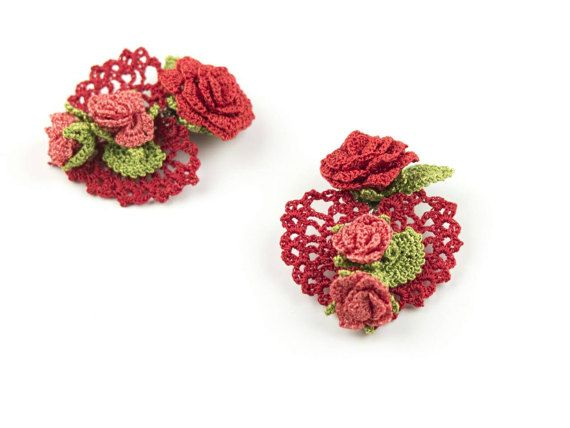 Heart Earrings Red Crochet Clip On Earrings Rose Earrings