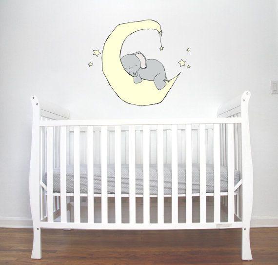 WALL DECAL Elephant Moon Dream Nursery Art by SweetMelodyDesigns