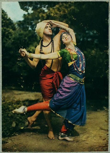 "Ruth St Denis & Ted Shawn in color  for National Geographic 1916.... ""Radha"" was an attempt to translate St. Denis' understanding of Indian culture and mythology to the American dance stage."