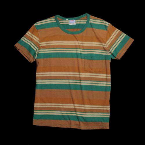 Levi's Vintage Clothing - Stripe T-shirt in Verdant Green | There's something about this shirt that really makes me wanna drop a toad down the back of a girls dress, drink soda on a street corner from a glass bottle and play catch in the sandlot. | 57 bucks on sale from Unionmade