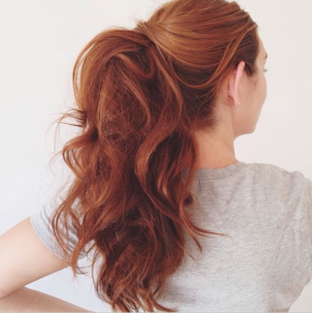 This hairstyle works best when your second-day hair is curly—no curling iron necessary!