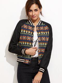 Multicolor Tribal Pattern Raglan Sleeve Baseball Jacket