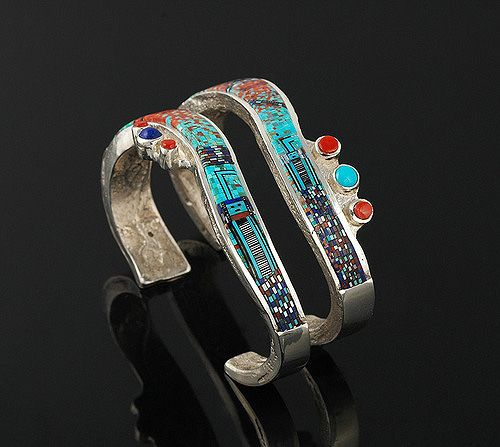 Stackable Yei bracelets | Carl and Irene Clark. Sterling silver with Turquoise, Lapis, Coral, and Mother of Pearl