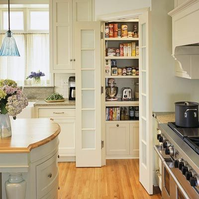Corner Pantry        Split-door corner pantries are perfect for small kitchens with unused corner space. Here, the corner pantry helps keep walkways clear. Inside the pantry, custom shelving offers ample storage for food, supplies, and small appliances.