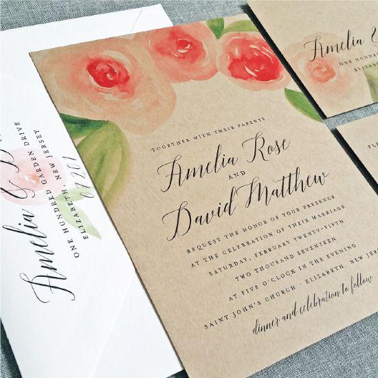 Kraft paper wedding invitations from Cricket Printing @weddingchicks