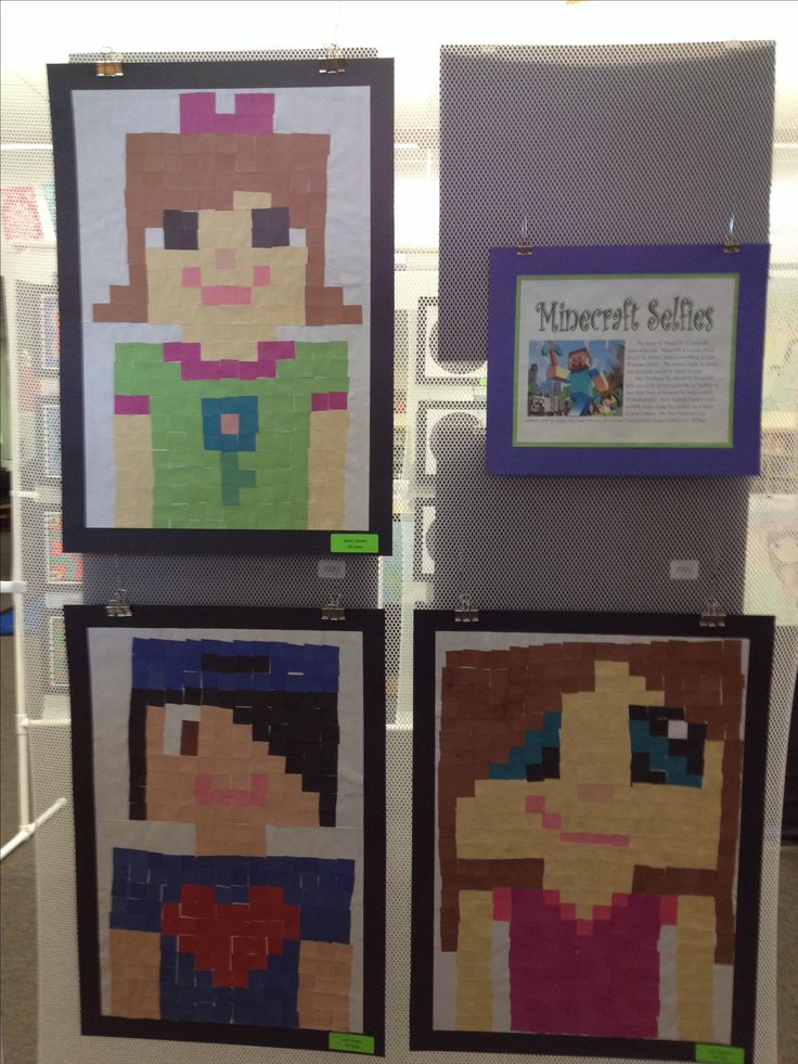 Minecraft Selfies - 5th grade - good idea for year 6 induction days ;)