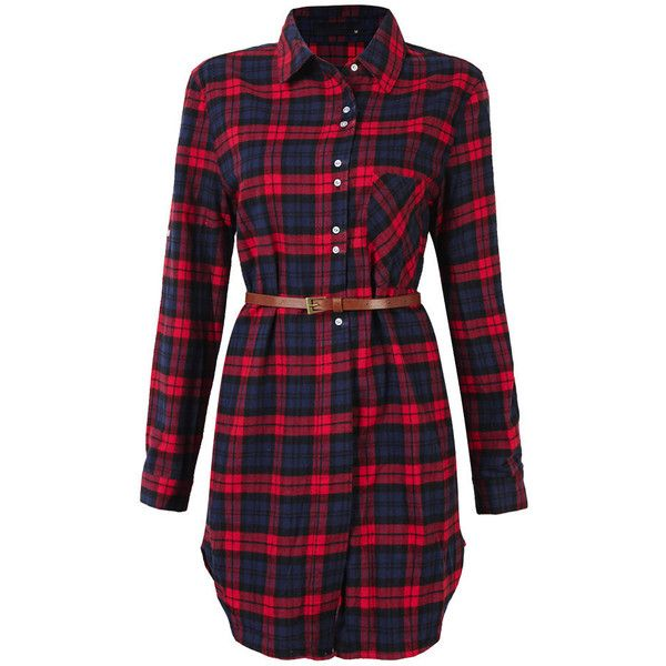 Plaid Long Sleeve Turn Down Collar Shirt Dress For Women (£19) ❤ liked on Polyvore featuring dresses, red dress, red plaid dress, long sleeve vintage dresses, long-sleeve maxi dresses and plaid shirt dress