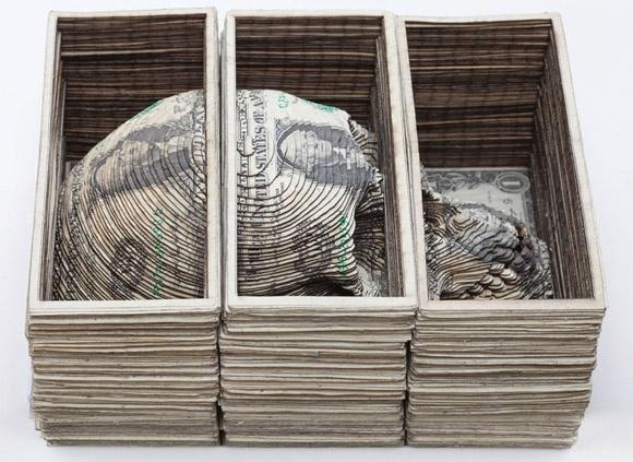 dollar bill skull craving: Skull, L'Wren Scott, Dollar Bill, Laser Cut, Paper Sculpture, Scott Campbell, Money Art, Cut Outs, The Roots