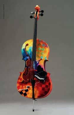 Maybe I can beg a talented friend to paint a stringed instrument like this for me.