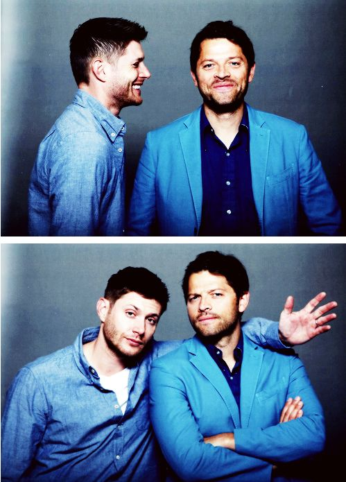 Jensen and Misha #JIBcon2014 <<< How you know you're watching Supernatural? When one thirty-six-year-old and one to-be forty-year-old are still better-looking and more appealing than any guys your own age.