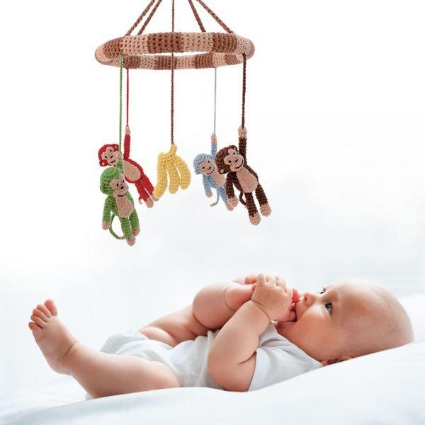 Toys - Crochet Mobile w/ Monkeys & Bananas (Multicolor)