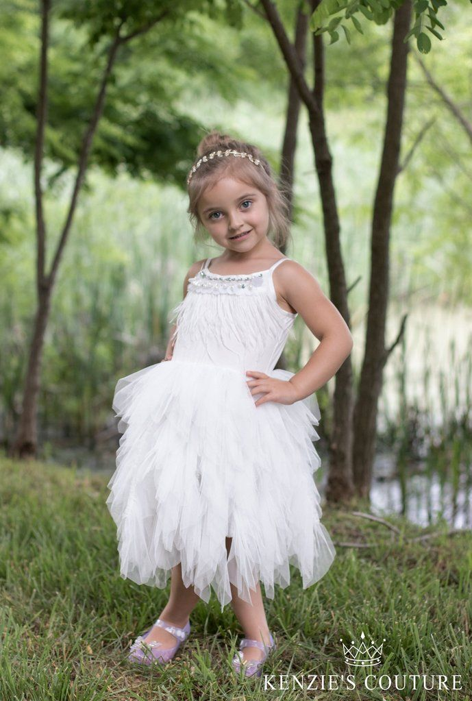 White Feather Party Dress