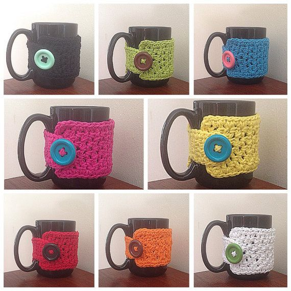 Coffee cup sleeve crocheted cotton travel by NoteworthyKnitnacks